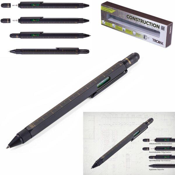 """Daudzfunkcionāla lodīšu pildspalva """"CONSTRUCTION"""" ar gravējumu"""